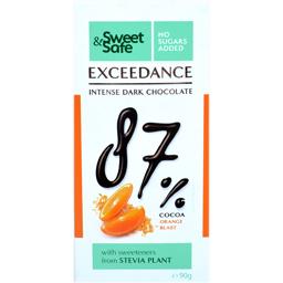 Ciocolata neagra 87% cacao cu portocale si indulcitor stevia 90g