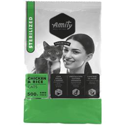 Hrana uscata pentru pisici Adult Sterilizat, pui si orez 500g