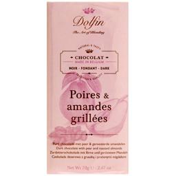 Ciocolata neagra cu pere si migdale prajite 70g