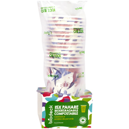 Pahare biodegradabile & compostabile 480ml, 15 bucati