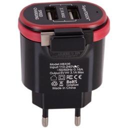 Incarcator priza cu doua sloturi USB si cablu Type-C