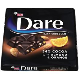 Ciocolata neagra cu migdale & portocale 54% 70g
