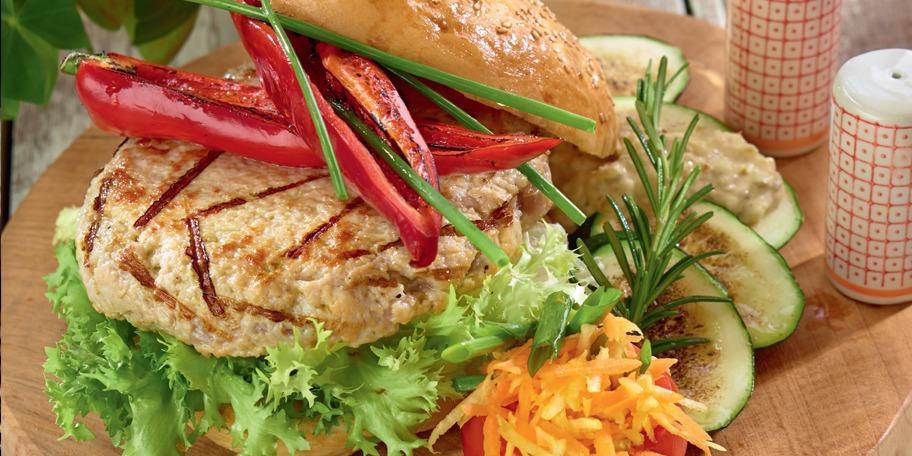 Hamburger home-made din curcan