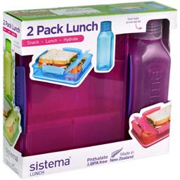 Set cutie alimentara cu 2 compartimente Lunch  + Sticla Square diverse culori