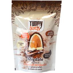 Migdale invelite in doua tipuri de ciocolata, amaruie si alba 100g