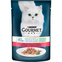 Hrana umeda pentru pisici, cu pastrav si spanac 85g