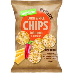 Chips din porumb si orez cu aroma jalapeno si branza 50g
