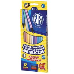 Creioane colorate rotunde 12 culori metalice si ascutitoare