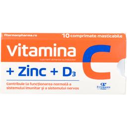 Supliment alimentar Vitamica C, Zinc, D3, 10 comprimate masticabile