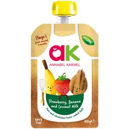 Piure bio de fructe cu banane, mere, capsuni si lapte de cocos 100g