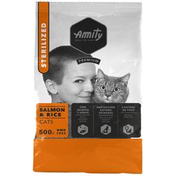 Hrana uscata pentru pisici, Adult Sterilizat, somon si orez 500g