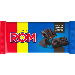 Ciocolata amaruie 70% cacao si crema de rom 88g