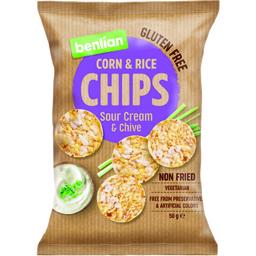 Chips din porumb si orez cu aroma de smantana si arpagic 50g