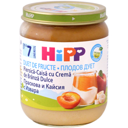 Duet de fructe: piersica si caisa, cu crema de branza, de la 7 luni 160g