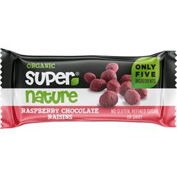 Ciocolata bio cu stafide invelite in zmeura 40g