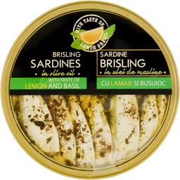 Sardine in ulei de masline cu lamaie si busuioc 160g