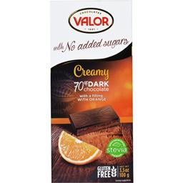 Ciocolata neagra 75% cu crema de portocale fara zahar 100g