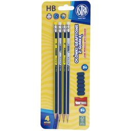 Set 4 creioane cu radiera si ascutitoare