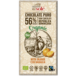 Ciocolata neagra bio cu portocale 56% cacao 100g